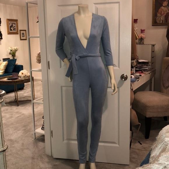 a33ef747b3d Baby blue suede jumpsuit. M 5bdbaf6903087cae70dcb719